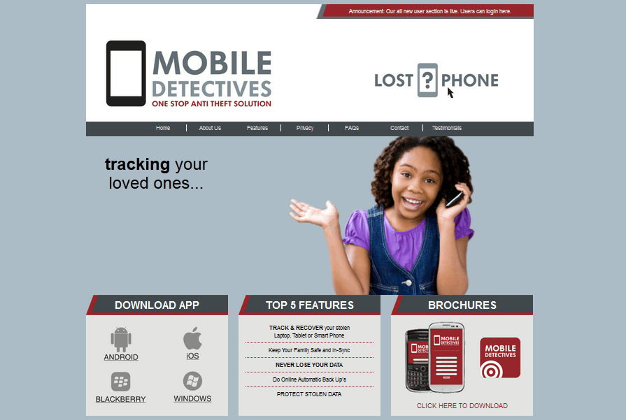 Mobile Detective Website Screenshot