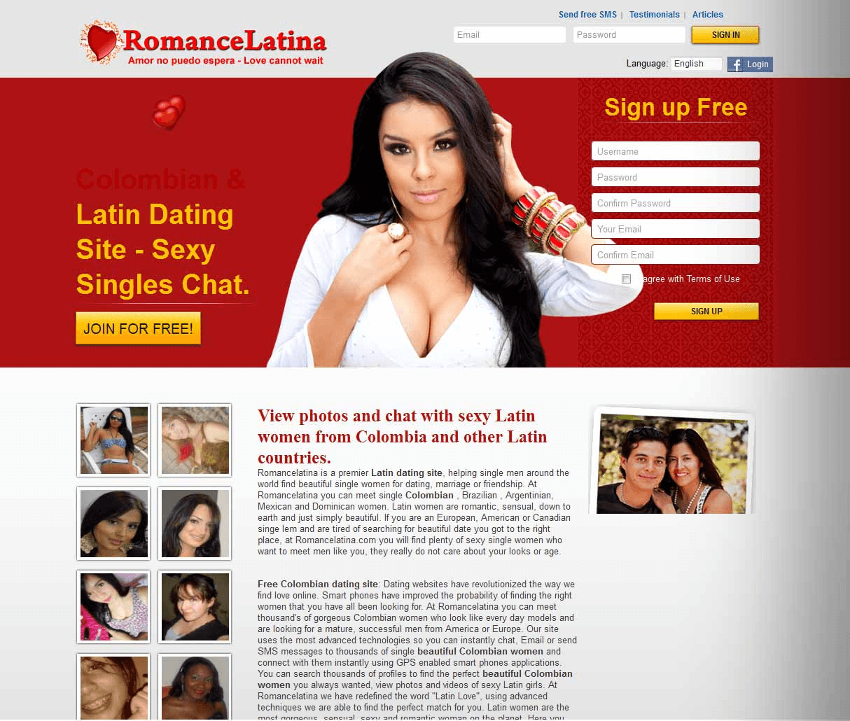 RomanceLatina Website Screenshot
