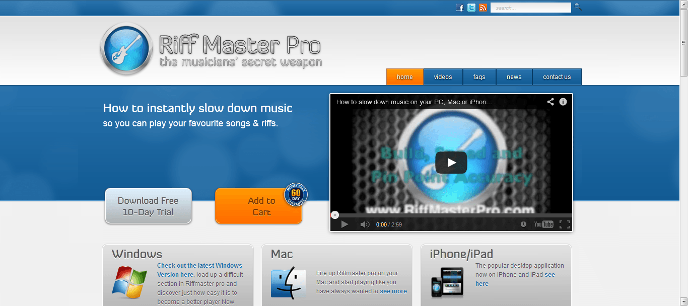RiffMaster Website Screenshot